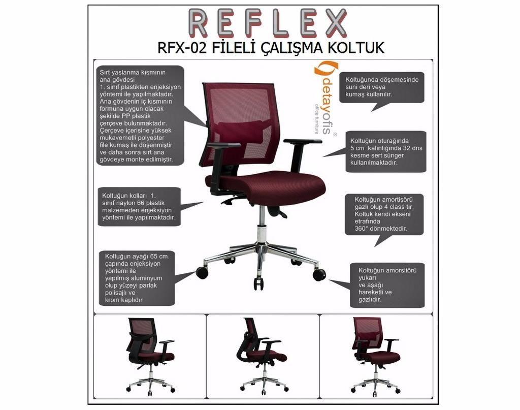 Fileli tasarımı ile kullanıcıya mükemmel bir esneklik sunarak,maksimum konfor sağlayan : Reflex Çalışma Koltuğu