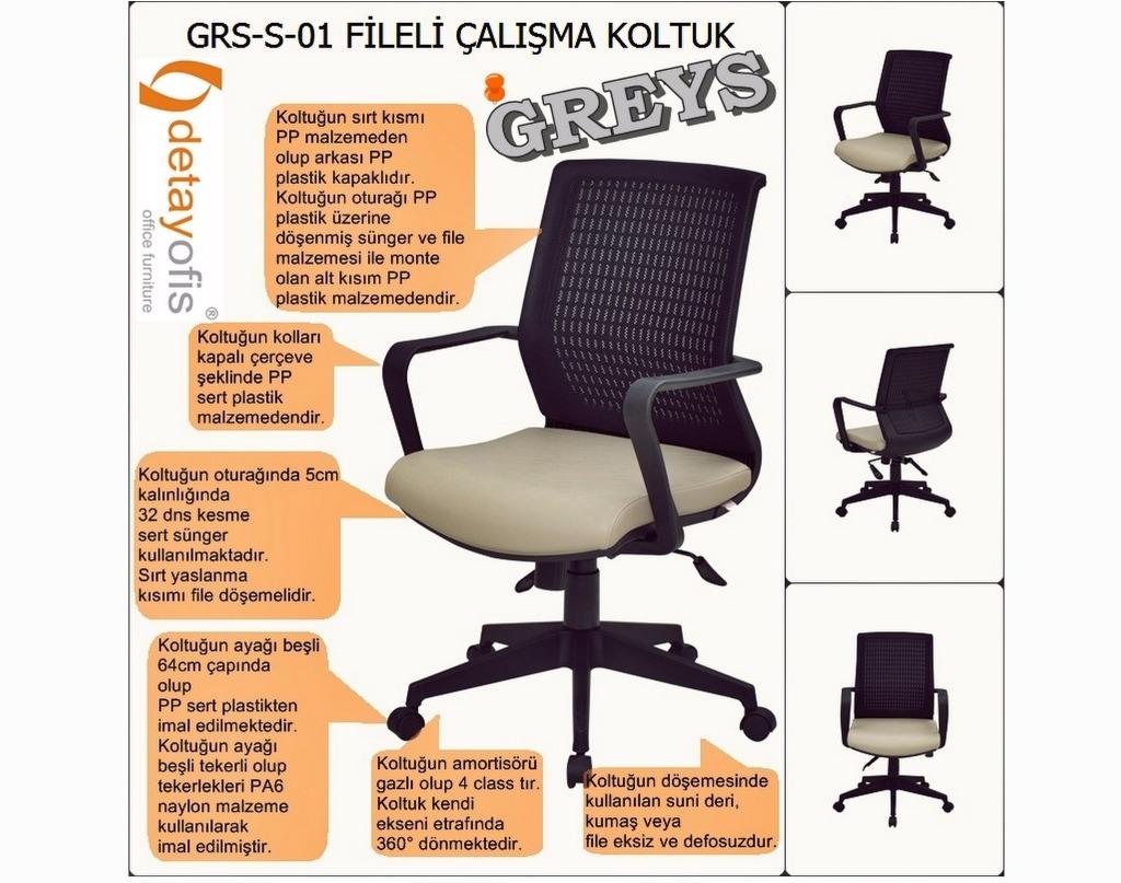 Greys serisi fileli ergonomik çalışma koltuğu.