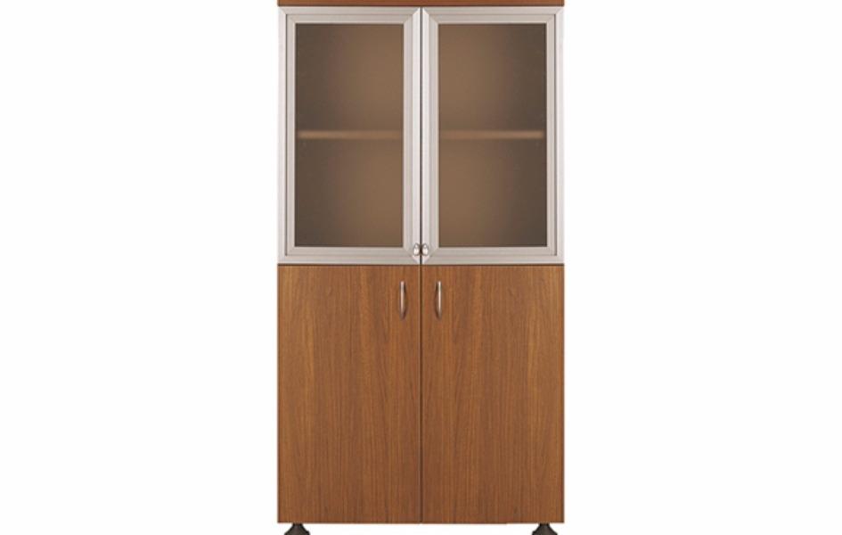 Шкаф с стеклянными короткими дверьми в мдф профиле