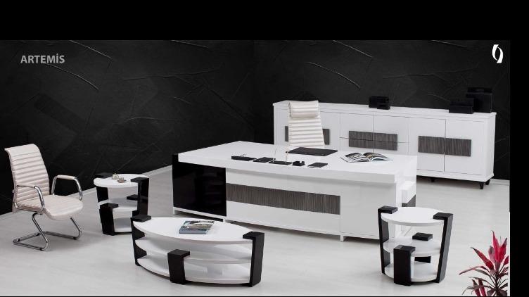 Siyah ve Beyazın Eşsiz Uyumunu Detay Ofis Kalitesiyle Sizlere Sunan Artemis Makam Takımı