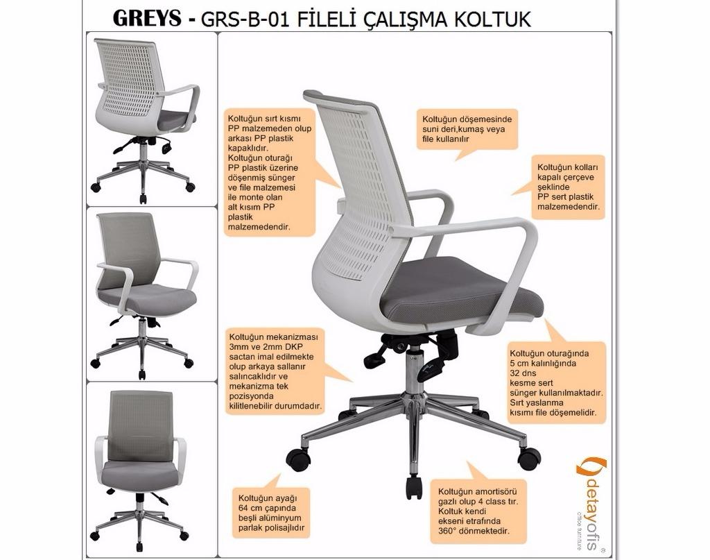 Greys fileli ergonomik personel koltuğu ile ofisleriniz de çalışırken konforu yakalayın!
