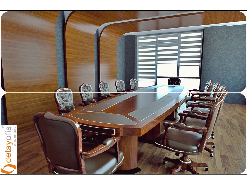 Özel arka pano & tavan uygulaması ile Pirus toplantı masası....