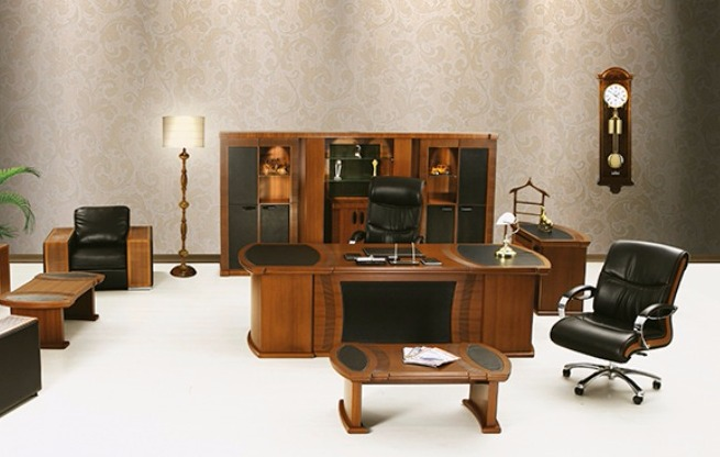 Schores Polished Wood Executive Office  Furniture
